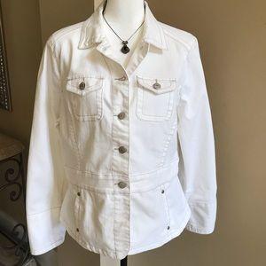 Cabi White Denim Jacket Style 249